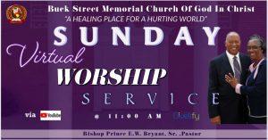 Sunday Service @ 11:00 a.m. @ Virtual YouTube